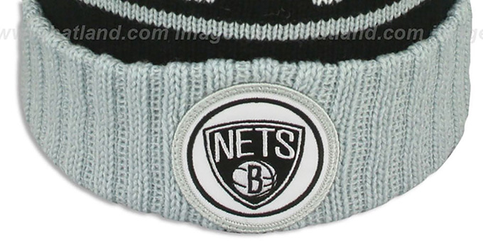 Nets 'HIGH-5 CIRCLE BEANIE' Black-Grey by Mitchell and Ness
