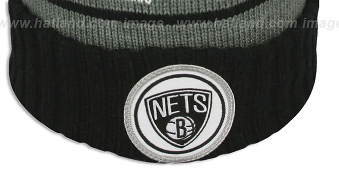 Nets 'HIGH-5 CIRCLE BEANIE' Grey-Black by Mitchell and Ness