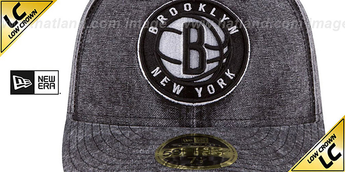 Nets 'LOW-CROWN FADED' Black Fitted Hat by New Era