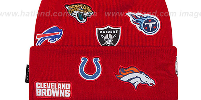 NFL AFC TOTAL LOGO Red Knit Beanie Hat by New Era d2cc28ce24e0