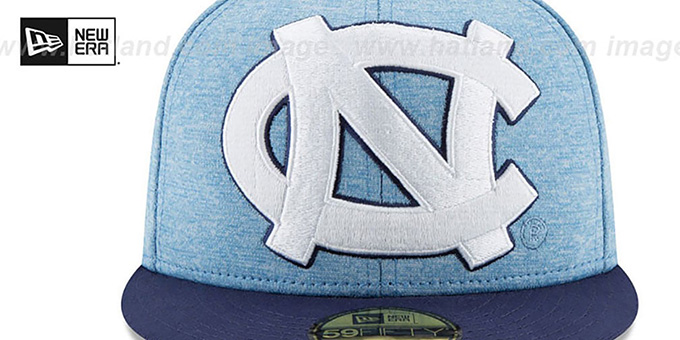 North Carolina 'HEATHER-HUGE 2' Sky-Navy Fitted Hat by New Era