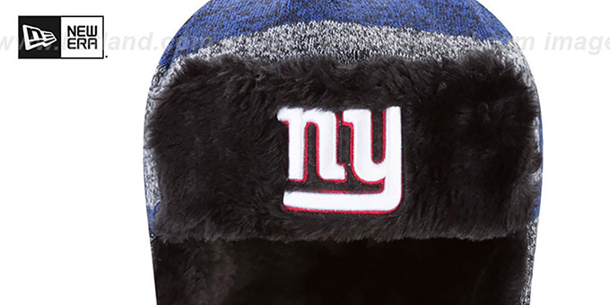 NY Giants 'FROSTWORK TRAPPER' Royal Knit Hat by New Era