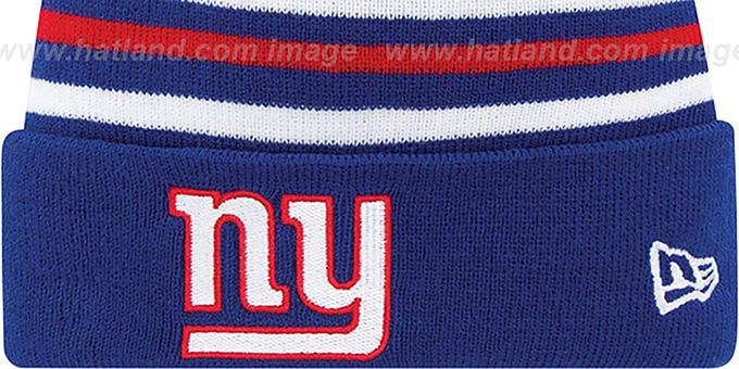 f63d36d62cb ... NY Giants  STRIPEOUT  Knit Beanie Hat by New Era ...