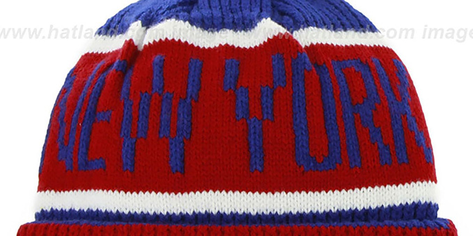 33f2e27534b795 ... NY Giants 'THE-CALGARY' Red-Royal Knit Beanie Hat by Twins 47