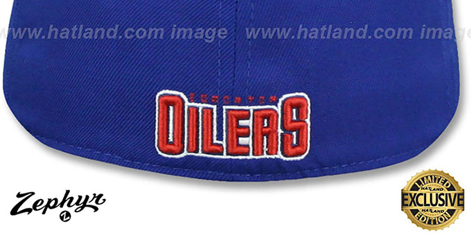 Oilers 'SHOOTOUT' Royal Fitted Hat by Zephyr