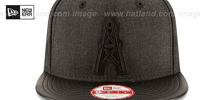 Oilers 'THROWBACK LEATHER-MATCH SNAPBACK' Black Hat by New Era