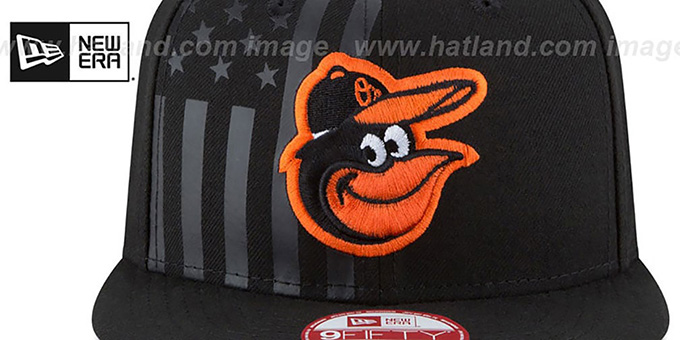 Orioles 'FLAG-FRONT SNAPBACK' Black Hat by New Era