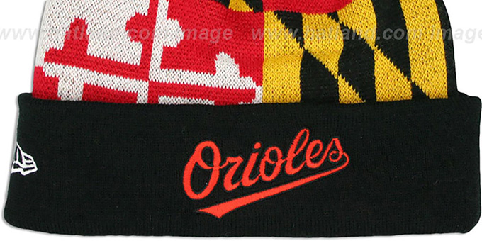 2155d0ef3 Baltimore Orioles MARYLAND-FLAG Knit Beanie Hat by New Era