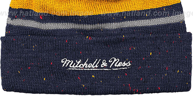Pacers 'SPECKLED' Navy-Gold Knit Beanie by Mitchell and Ness