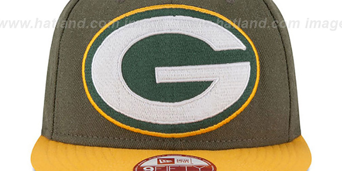 Packers 'LOGO GRAND SNAPBACK' Olive-Gold Hat by New Era