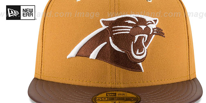 Panthers 'METAL HOOK' Wheat-Brown Fitted Hat by New Era