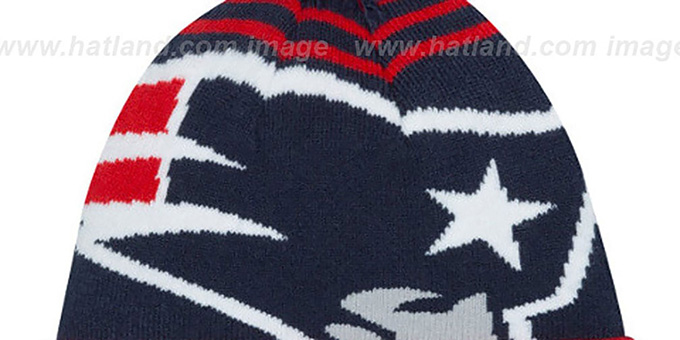 Patriots 'LOGO WHIZ' Navy-Red Knit Beanie Hat by New Era