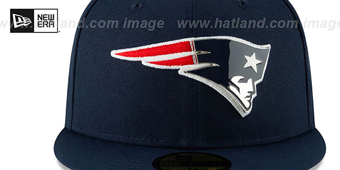 Patriots 'METAL-N-THREAD' Navy Fitted Hat by New Era