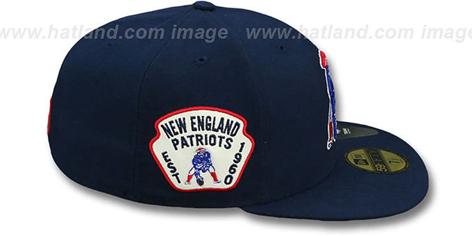 0b9edc6581c7ce ... Patriots 'THROWBACK SIDE TEAM-PATCH' Navy Fitted Hat by New Era ...