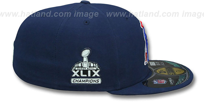 Patriots 'THROWBACK SUPER BOWL XLIX CHAMPS' Navy Fitted Hat by New Era