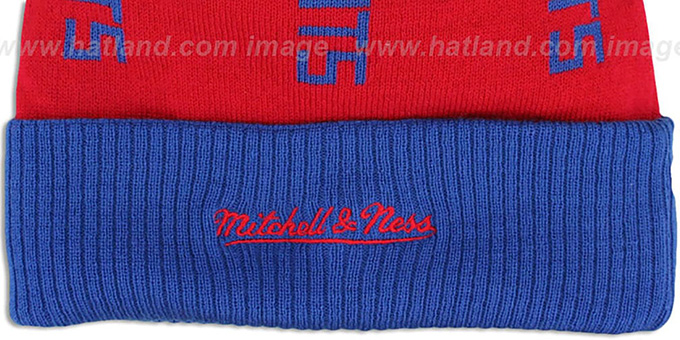 Patriots 'VERTICAL WORD BEANIE' Red-Royal by Mitchell and Ness
