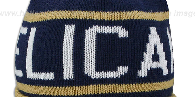Pelicans 'HIGH-5 CIRCLE BEANIE' Navy-Gold by Mitchell and Ness