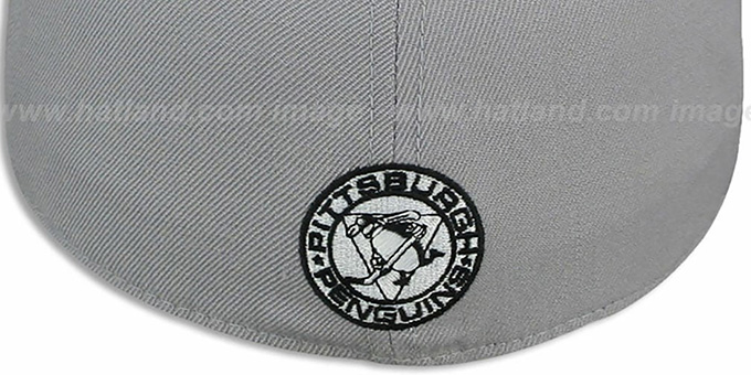 Penguins '2T XL-WORDMARK' Grey-Black Fitted Hat by Mitchell & Ness