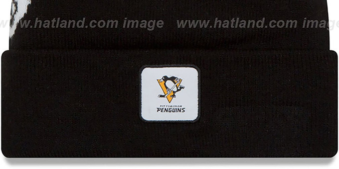 Penguins 'COLOSSAL-TEAM' Black Knit Beanie Hat by New Era