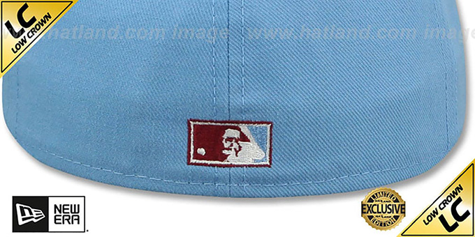 Phillies '1973-86 LOW-CROWN VINTAGE' Sky-Burgundy Fitted Hat by New Era