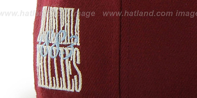 09c52cc614da4 ... Phillies COOP  CATERPILLAR  Burgundy Fitted Hat by 47 Brand ...