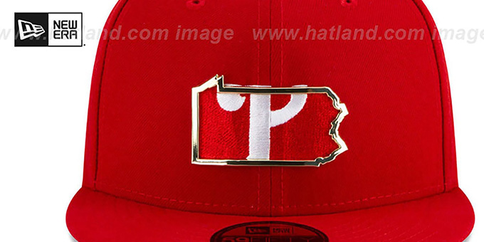 Phillies 'GOLD STATED INSIDER' Red Fitted Hat by New Era