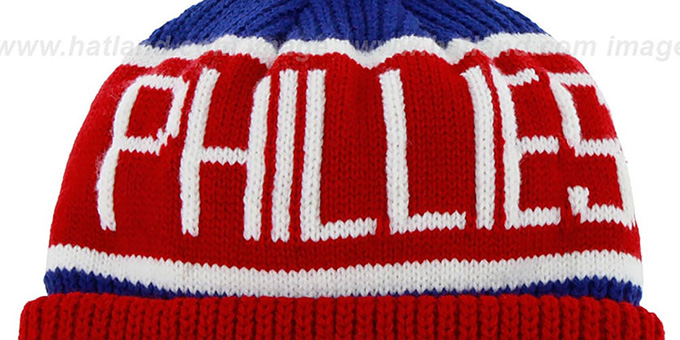 Phillies 'THE-CALGARY' Red-Royal Knit Beanie Hat by Twins 47 Brand