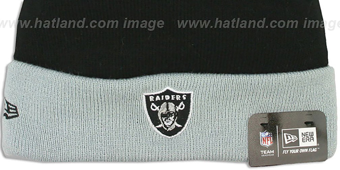 Raiders 'BUTTON-UP' Knit Beanie Hat by New Era