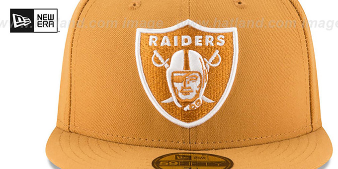 Raiders 'NFL TEAM-BASIC' Panama Tan-White Fitted Hat by New Era