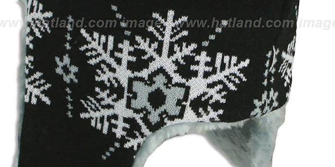 Raiders 'SNOWFLAKE TRAPPER' Black-Grey Knit Hat by New Era