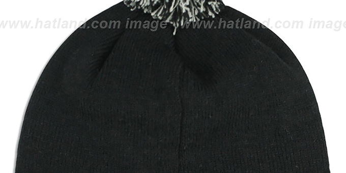 Raiders 'TEAM-SCRIPT POM' Black-Grey Knit Beanie Hat by Twins 47 Brand