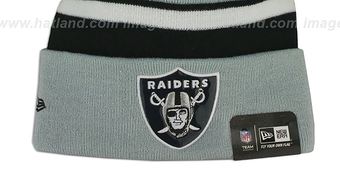 Raiders THROWBACK 'BIG-SCREEN' Knit Beanie Hat by New Era