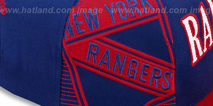 Rangers 'LASER-STITCH SNAPBACK' Navy-Red Hat by Mitchell and Ness