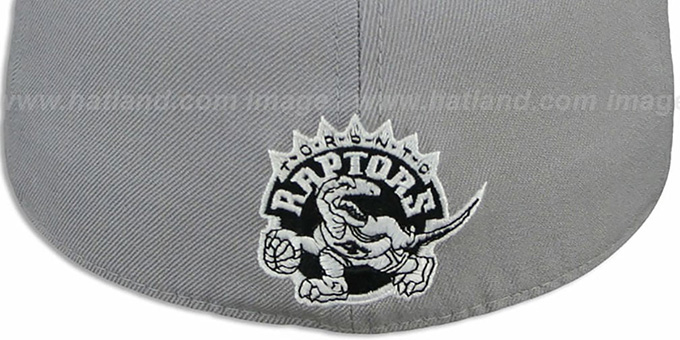 Raptors '2T XL-WORDMARK' Grey-Black Fitted Hat by Mitchell & Ness