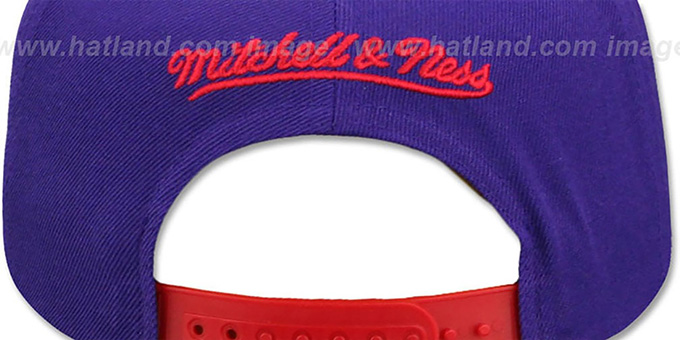Raptors 'XL RUBBER WELD SNAPBACK' Purple-Red Adjustable Hat by Mitchell and Ness