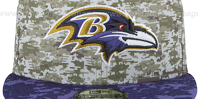 brand new c3d27 bef69 ... Ravens  2015 SALUTE-TO-SERVICE  Desert-Purple Fitted Hat by New ...