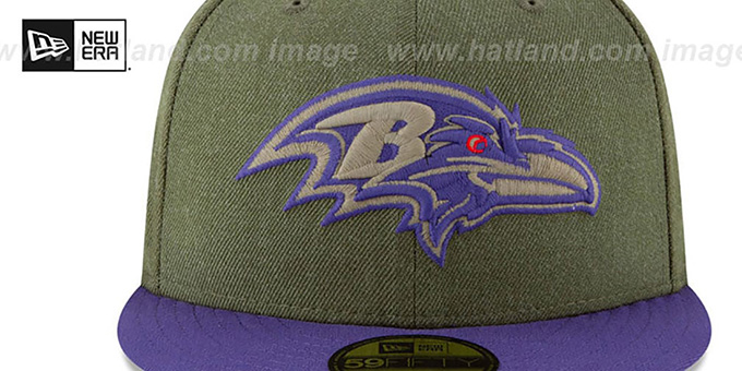 Ravens '2018 SALUTE-TO-SERVICE' Olive-Purple Fitted Hat by New Era