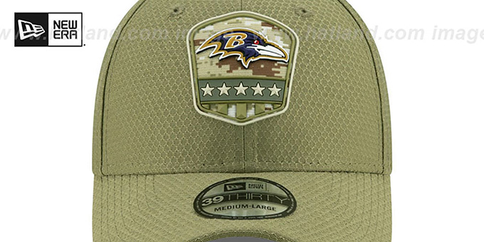 Ravens '2019 SALUTE-TO-SERVICE FLEX' Olive Hat by New Era
