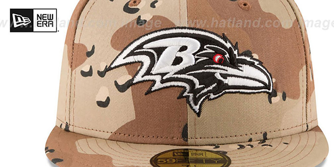 Ravens 'NFL TEAM-BASIC' Desert Storm Camo Fitted Hat by New Era