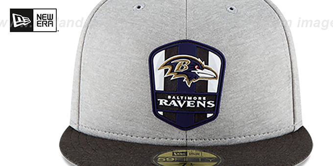 Ravens 'ROAD ONFIELD STADIUM' Grey-Black Fitted Hat by New Era