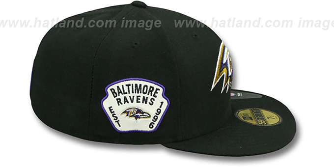 Ravens 'SIDE TEAM-PATCH' Black Fitted Hat by New Era