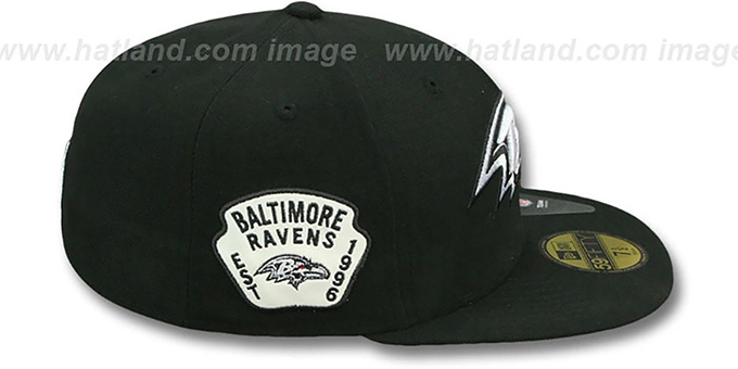 Ravens 'SIDE TEAM-PATCH' Black-White Fitted Hat by New Era