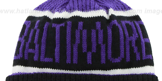 Ravens 'THE-CALGARY' Black-Purple Knit Beanie Hat by Twins 47 Brand