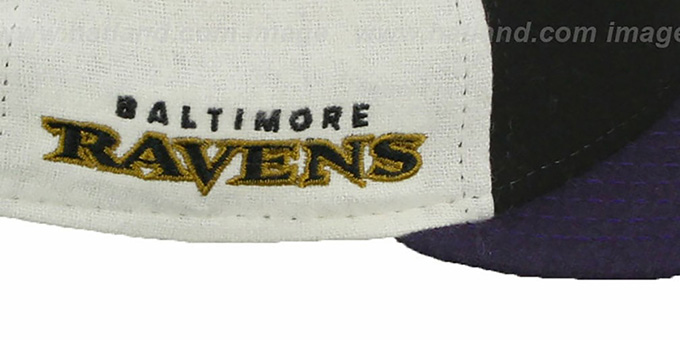 Ravens 'TRIPLE MELTON STRAPBACK' Black-White-Purple Hat by New Era