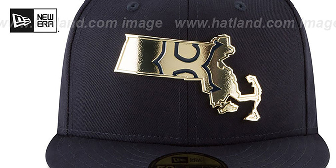 Red Sox 'GOLD STATED METAL-BADGE' Navy Fitted Hat by New Era