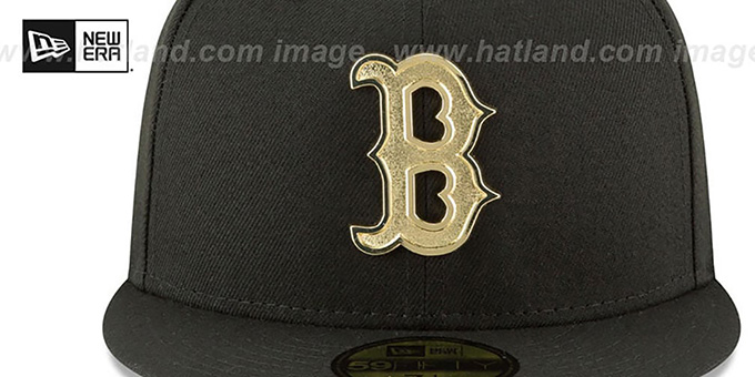Red Sox 'GOLDEN-BADGE' Black Fitted Hat by New Era