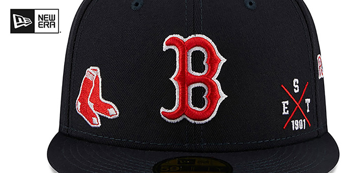 Red Sox 'MULTI-AROUND' Navy Fitted Hat by New Era