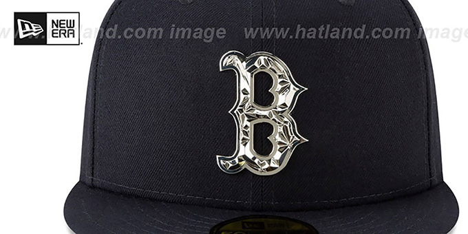 Red Sox 'SILVER SHATTERED METAL-BADGE' Navy Fitted Hat by New Era