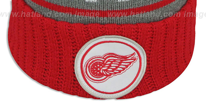 Red Wings 'HIGH-5 CIRCLE BEANIE' Grey-Red by Mitchell and Ness
