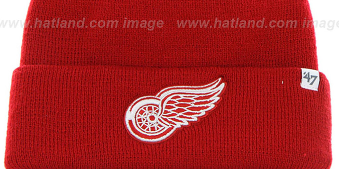Red Wings 'POMPOM CUFF' Red Knit Beanie Hat by Twins 47 Brand